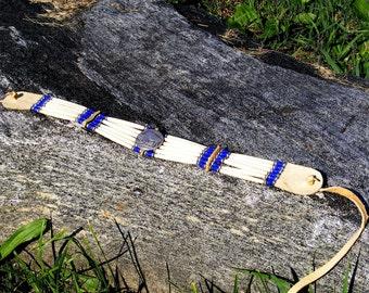 Bone hair pipe choker, buffalo coin, cobalt blue glass beads, native style, tribal, intertribal, pow wow regalia, dance jewelry, thin pipe