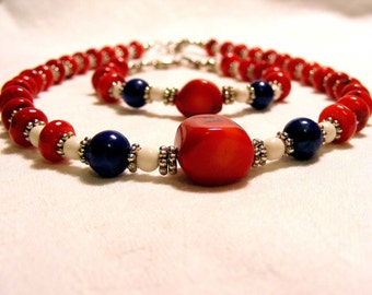 Red bamboo coral lapis lazuli and bone necklace and bracelet set