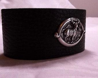 Leather belt cuff with deer concho, cuff bangle, leather bracelet, rustic, deer hunter, custon sized, gift idea, english leather, belt cuff