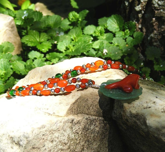 Carnelian frog necklace green orange aventurine spring peepers walosi lily pad rebirth pond water