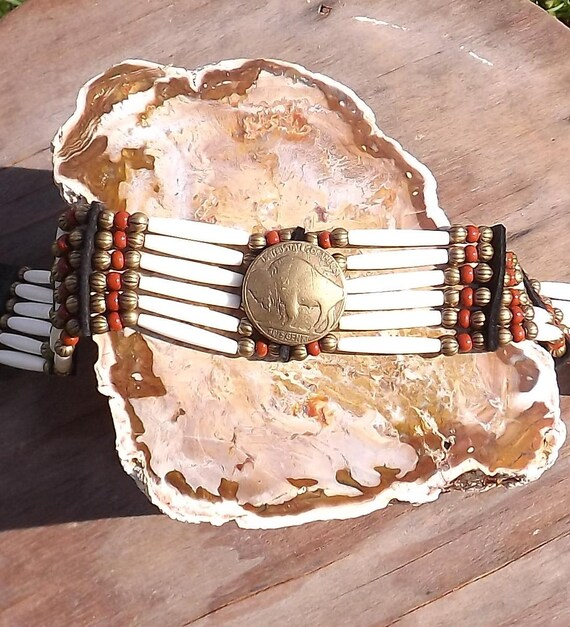 Hair pipe bone choker with brass buffalo coin red brick and black