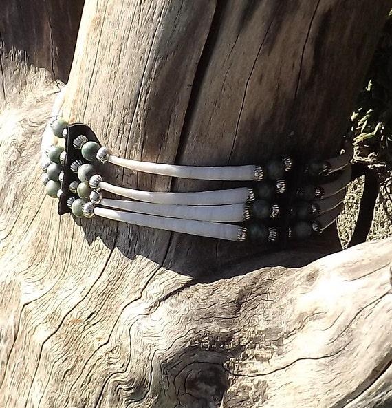 Dentalium shell choker with tree agate