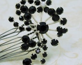 Black and White Floral Spray Rhinestone Hair Comb Upcycled Vintage