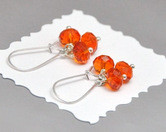 Tangerine Crystal Cluster Earrings