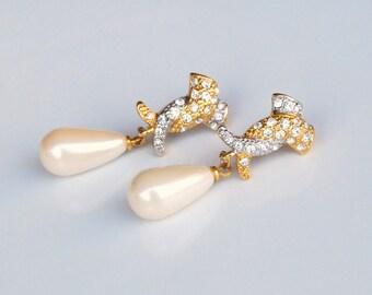 Vintage Rhinestone Earrings and Pearl Teardrops Bridal Jewelry