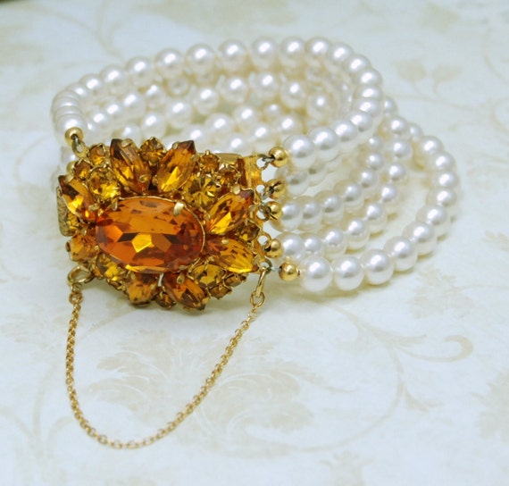White Pearl Bracelet with Huge Amber Rhinestone Clasp Wedding Jewelry