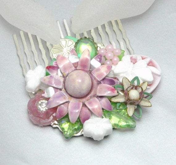 Pink Collage Comb Mint Green Vintage Collage Hair Comb Spring Wedding Accessory