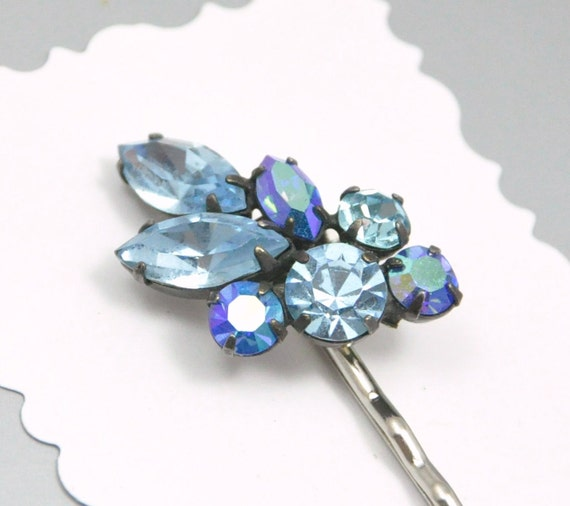 Blue Rhinestone Bobby Pin Upcycled Vintage Hair Accessory
