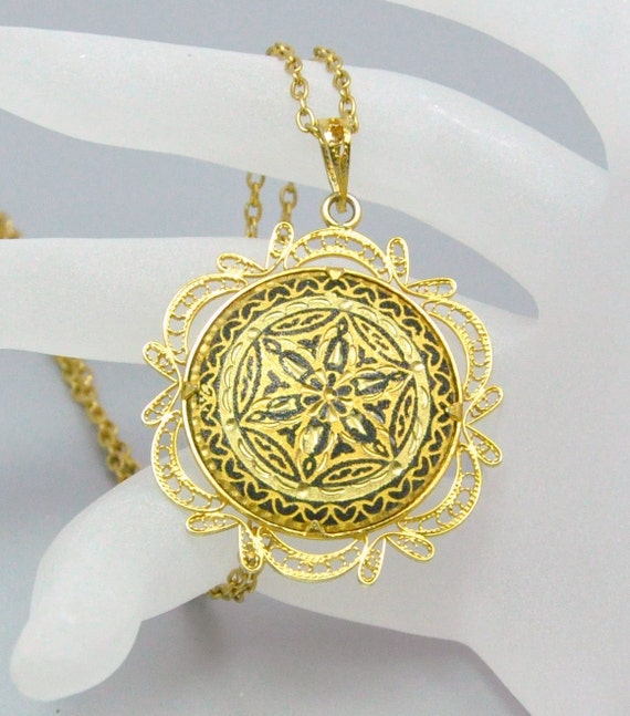 Vintage Damascene Necklace Old World Pendant Necklace from Spain