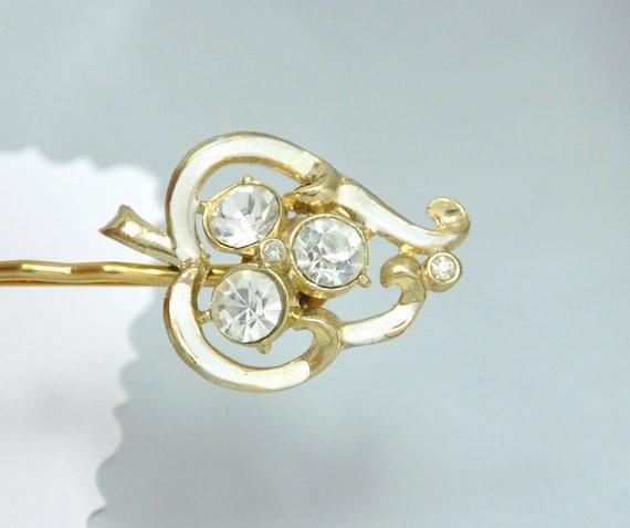 Ivory Leaf Bobby Pin Vintage Enamel Rhinestone Jewelry