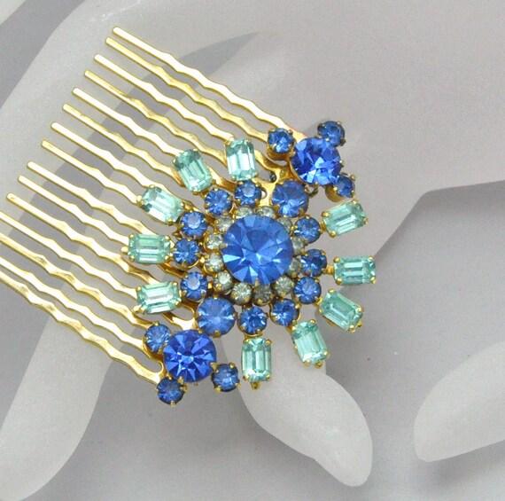 30% OFF Sapphire Something Blue Rhinestone Hair Comb Repurposed Vintage