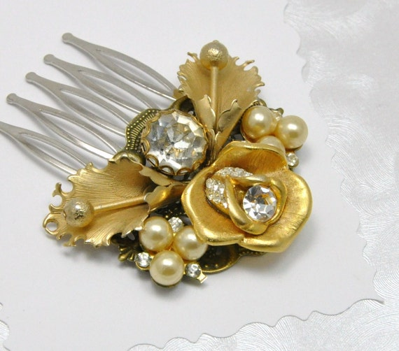 Pearl Rhinestone Comb Vintage Collage Hair Accessory