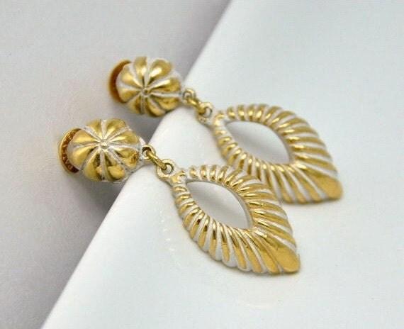 Vintage Coro Earrings Gold and White Enamel Teardrops