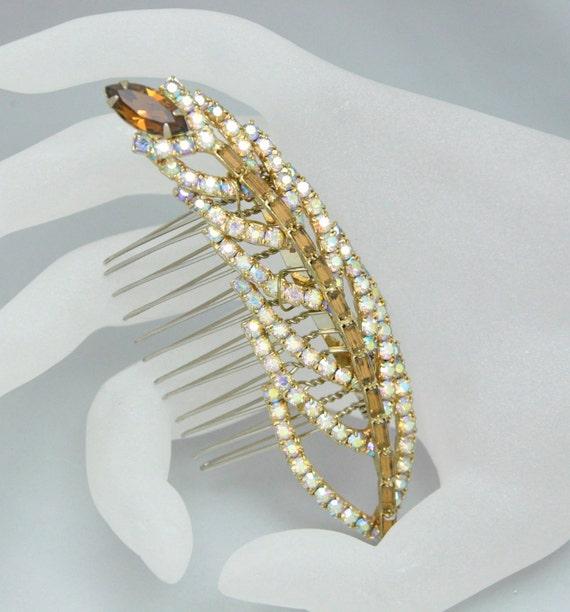 Rhinestone Leaf Comb Vintage Topaz Rhinestone Bridal Hair Accessory