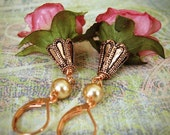 Pink Flower Earrings Rose - Copper Dangle Floral