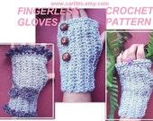 Crochet PATTERN  Fingerless Gloves num  23, Make them plain or fancy, instant download