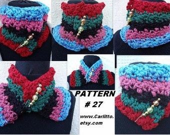 crochet pattern scarf num 27 COWL crochet for beginners, how to make a shawl pin included, instant download