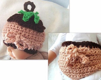 Crochet Hat and Diaper Cover Set, Little acorn hat and diaper cover set . NUM. 89. Photo prop  fits to 3 months, Instant Download