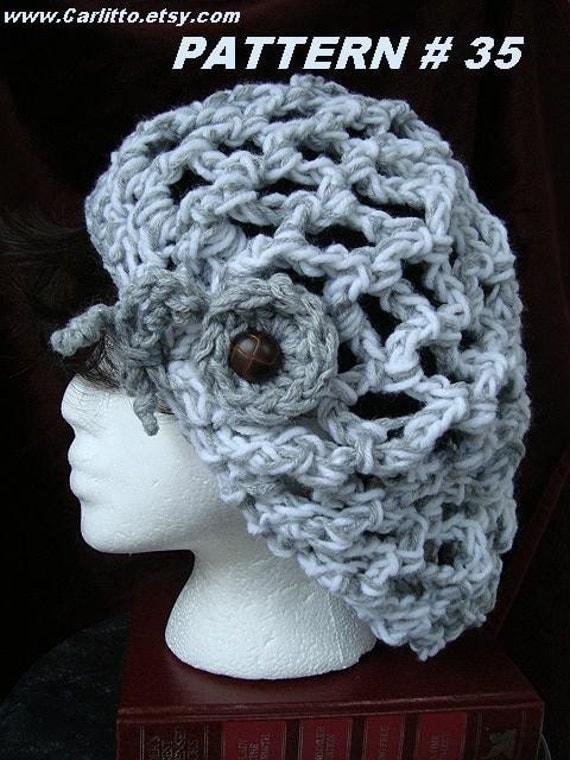Crochet Hat Pattern  No. 35.... 60 Minute, One Skein , Chunky Style Rasta Hat... See my shop announcement for A FREE HEADBAND PATTERN.