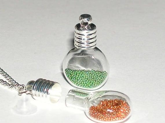 25 Wholesale Lot Small Glass Cognac tiny miniature pendant necklace charm potion bottles