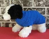 Blue dog sweater, medium dog sweater, large dog sweater, crochet dog sweater,