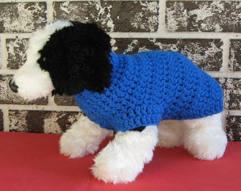 Blue dog sweater, medium dog sweater, large dog sweater, crochet dog sweater,