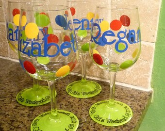 Girl's Weekend Hand painted and Personalized Wine glasses