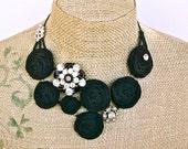 Harlow Nights- bib necklace- with Vintage Rhinestone findings