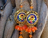 Carnelian Bouquet- earrings with Vintage Italian Micro Mosaics, and Carnelian