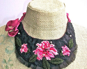 Embroidered Peony- embroidered bib necklace with silk ties