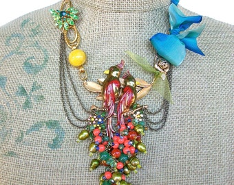 Flamenco- tie necklace with Vintage components, Vintage Enameled birds, and multi colored hand beading