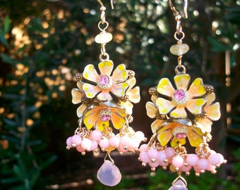 Daisy Lane- whimsical Vintage Enameled flower earrings with Pink Chalcedony, Coral, and Yellow Aventurine