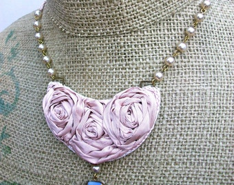 Angel Kiss- sweet necklace with trio of Silk Roses, Vintage Blue Glass drop, Vintage Glass pearls, and braided Satin ties.