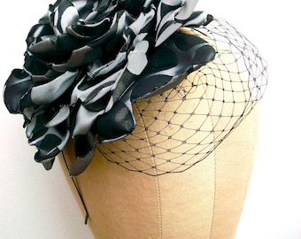Polka Dot Party- Headband with extra large handmade flower, birdcage net,  and Vintage center