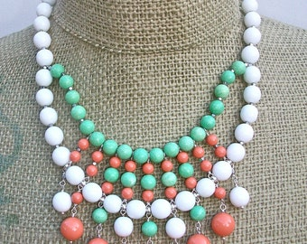 Sherbet- bauble necklace/earring set with Vintage Milkglass, Green chalk Turquoise, and Coral Swarovski Pearls