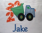 Custom Boutique Applique Dump Truck 2nd Birthday Shirt Personalized with Name Free