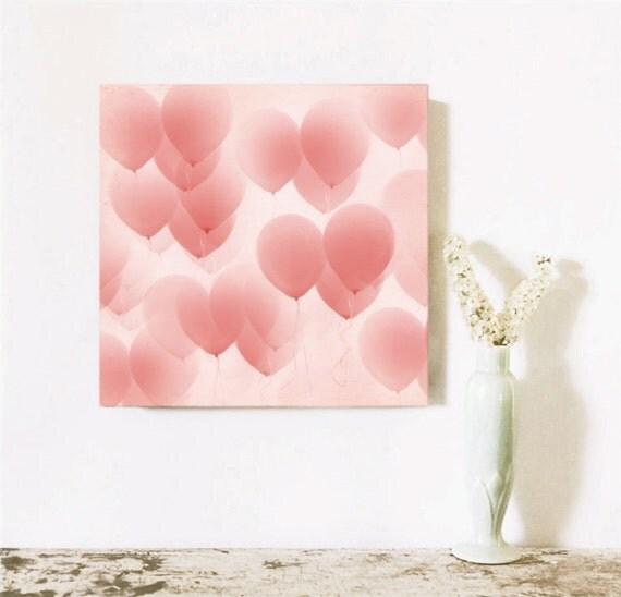 Valentine Pink  Heart Decor Wall Art  Pink Balloons in the Sky 10x10 Gallery Mounted   Nursery Art Girls Room Wedding Love