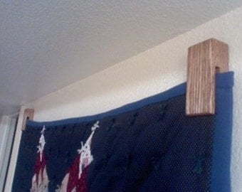 Wood Oak Quilt Rack Hanger And Towel Holder Handmade