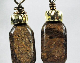 Earrings created using bronzite and gold tone and gun metal