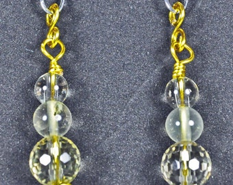 Lemon Quartz, Lemon Artistic wire, and Silver Earrings