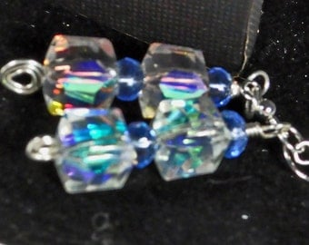 Blue and AB coated crystal earrings in silver plated wire