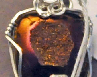 Copper, brown, magenta coated druzy square pendant wrapped in sterling silver