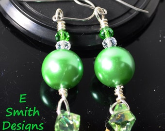 Green faux pearls with green and white crystal dangle earrings