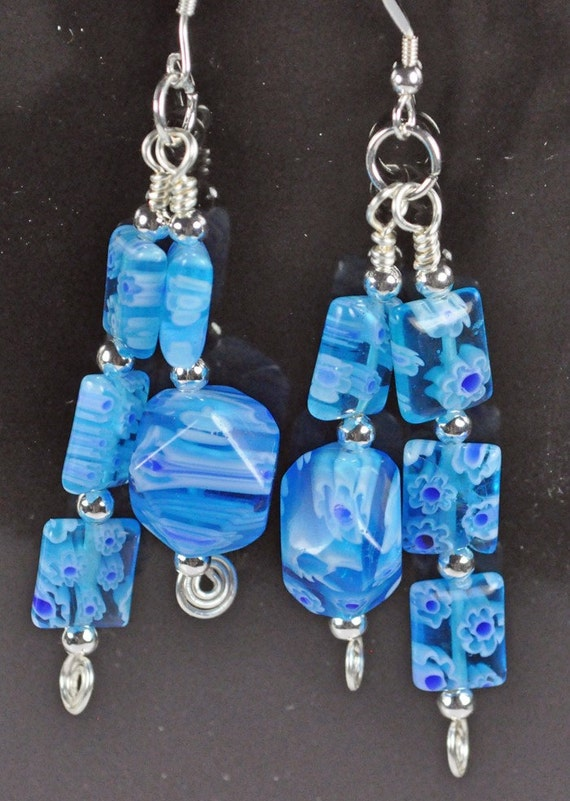 Turquoise blue glass beads with silver plated beads and crystal beads and silver ear wires and silver wire