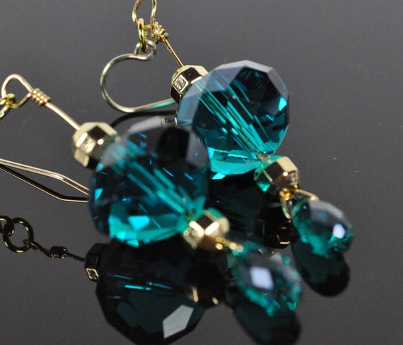 Teal crystal and gold bead drop earrings in non tarnish brass wire