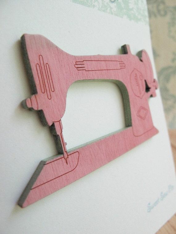 Retro Sewing Machine Wood Brooch