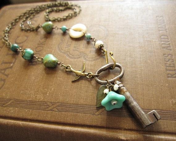 Turquoise Vintage Key Button Bird Blue Flower Necklace