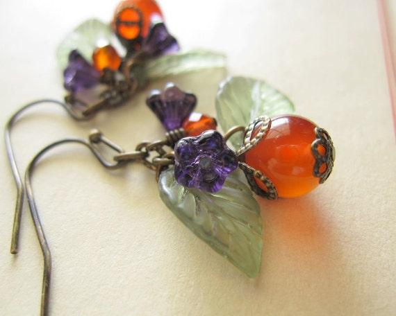 Orange Carnelian Purple Czech Glass Flower Earrings