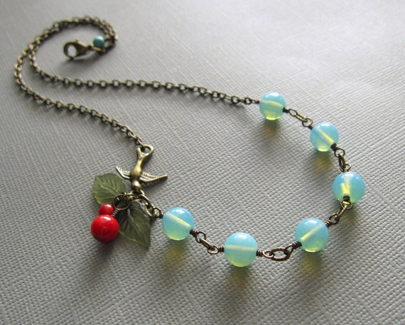 Robin Red Cherry Sea Blue Opalite Necklace