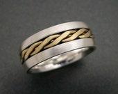 Sterling / 18K Gold Three Wire Twist Wedding Ring